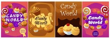 Candy World Banners Collection With Sweet Planets Flat Vector Illustration.