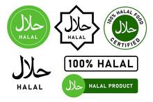 Halal Food Stamp Islam Muslim Approved Product Badge Sticker Design Set White Background