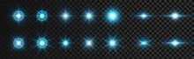 Flash White-blue Light On Dark Transparent Background. Vector Glare, Glow, Twinkle Effect. Vector Illustration 2021