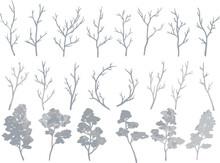手描きのシルバーの木と枝のセット ベクター素材