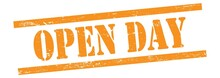 OPEN DAY Text On Orange Grungy Lines Stamp.