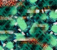 Fashionable Print, Abstract Leopard Skin With Geometric Shapes