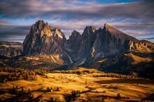 Sassolungo Mountain Range Above Alpe Di Siusi Plateau, Val Gardena, South Tyrol, Italy
