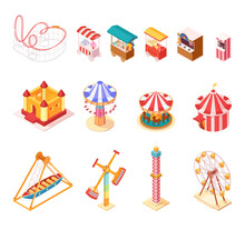 Amusement Park Isometric Cartoon Icons Set