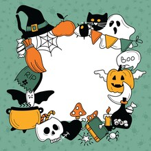 Square Frame From Bright Cool Elements For Halloween. Pumpkin, Skull, Ghost, Gravestone, Spider, Candy, Broom, Hat, Eye, Potion And More. Happy Holiday. Great For Postcards, Advertising Banners