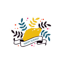 Happy Sukkot Handwritten Text In Ribbon For Jewish Holiday. Floral Template For Postcard, Label, Poster, Emblem, Logo With Of Etrog (citron), Arava (willow), Hadas(myrtle). Vector Illustration