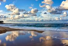 Cloud Reflections At Sunset, Moffat Beach, Queensland, Australia