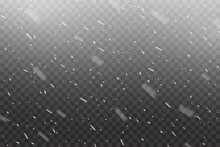 Realistic Falling Snow, Winter Christmas Snowfall Or Snowstorm On Transparent Vector Background. Snowfall Of White Snowflakes And Falling Snow Flakes In Storm Overlay Effect, Xmas Or New Year Cold Sky