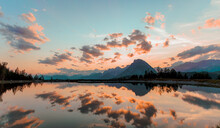 Sunset Over The Lake In Seefeld
