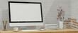 Leinwandbild Motiv Mockup blank screen desktop computer on wooden desk in white brick wall, 3d rendering