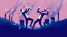 Making Money From Pollution - Corporate Greedy Businessmen Celebrating Earnings In Polluted Landscape. Corporate Greed And Evilness Concept. Vector