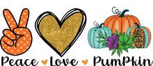 Peace Love Pumpkin Sublimation Design , Print Ready T Shirt Design.