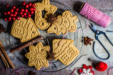 Overhead View Of Christmas Gingerbread Cookie Decorations On A Cooling Rack