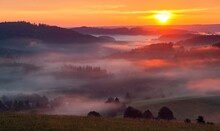 Morning Panoramic Sunset View From Zdarske Vrchy