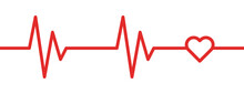 Cardiogram Ecg Line With Heart Symbol Red Vector Icon.