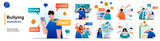 Bullying isolated set. Abuse at school, work or Internet, toxic communication. People collection of scenes in flat design. Vector illustration for blogging, website, mobile app, promotional materials.