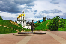 The Monument To Yuri Dolgoruky And The Ramparts Of The Dmitrov Kremlin. Dmitrov, Moscow Region, Russia-July 2021