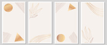 Collection Of Trendy Abstract Backgrounds As Template For Stories Design. Gold Foil And Floral Minimalistic Illustrations As Social Media, Post, Promotion, Advertising For Business And Private Blog