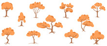 Set Of Trees With Autumn Yellow Leaves, Flat Cartoon Vector Illustration. Templates For Rippling Orange Landscape Compositions.