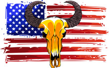 Bull Skull With American Flag Vector Illustration