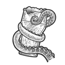 Octopus Tentacle Holding Glass Of Beer Sketch Engraving Vector Illustration. T-shirt Apparel Print Design. Scratch Board Imitation. Black And White Hand Drawn Image.