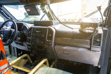 Dashboard Of A Military Jeep For Patrolling And Transporting Soldiers