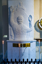 Italy. Toscane. Carrara. Bas Relief Depicting John Paul II In Marble