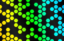 Abstract Background With Black Hexagons And Yellow Green Blue Backlight. Vector