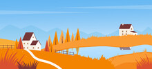 Autumn Landscape With Road To Farm House On Lake Vector Illustration. Cartoon Village Fall Scene, Autumn Season In Countryside Hills With Orange Grass Field, Simple Travel Outdoor Concept Background