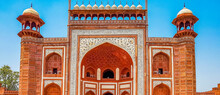 Taj Mahal Tadsch Mahal Great Gate Agra Uttar Pradesh India.