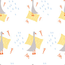 Simple Seamless Pattern Design With Cute Geese And Pillow Hand Drawn Vector Illustration, Use For Textiles, Paper, Baby Stuff