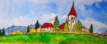 Paesaggio Con Case Nel Verde