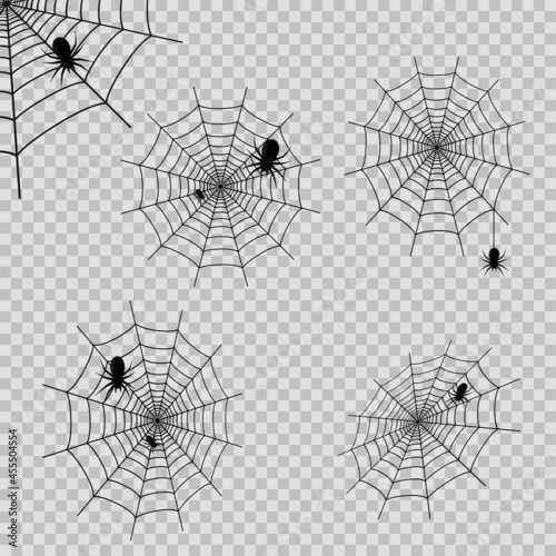 Photo Set of deocrations with spider web and spdiers on transparent background
