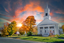 Beautiful Sky Over A White Church In Vermont USA