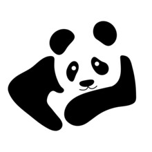 Panda Bear Vector Icon Or Logo Isolated On White Background. Panda Head Logo And Symbol Vector. Simple Panda Sign - Design Template