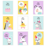 Happy Birthday Cards with Farm Animals with Cake and Gift Box Greeting and Congratulating Vector Set