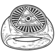 Snake Curled In Infinity Ring. Ouroboros Devouring Its Own Tail. Serpent Tattoo Design, Witchcraft Masonic, Raster Illustration