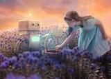 Fototapeta Natura - Little girl and robot