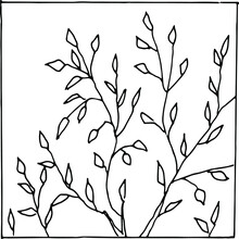 Vector Drawing With A Black Line.Nature Is A Tree In The Forest.Bare Tree.