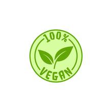 100 Percent Vegan Emblem Isolated On White Background