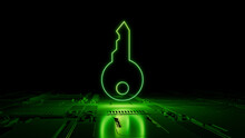 Green Security Technology Concept With Key Symbol As A Neon Light. Vibrant Colored Icon, On A Black Background With High Tech Floor. 3D Render