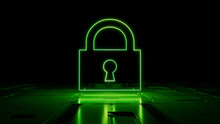 Green Neon Light Lock Icon. Vibrant Colored Security Technology Symbol, On A Black Background With High Tech Floor. 3D Render
