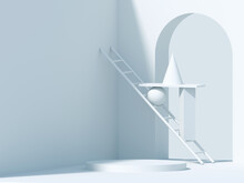 Abstract Still Life Installation, White Geometric Shapes 3d