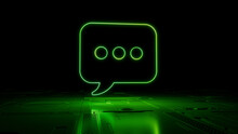 Green Text Technology Concept With Sms Symbol As A Neon Light. Vibrant Colored Icon, On A Black Background With High Tech Floor. 3D Render