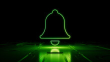 Green Neon Light Bell Icon. Vibrant Colored Alert Technology Symbol, On A Black Background With High Tech Floor. 3D Render