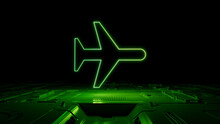 Green Neon Light Airplane Icon. Vibrant Colored Flight Technology Symbol, On A Black Background With High Tech Floor. 3D Render