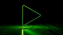Green Neon Light Play Icon. Vibrant Colored Media Technology Symbol, On A Black Background With High Tech Floor. 3D Render