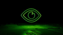 Green Vision Technology Concept With Eye Symbol As A Neon Light. Vibrant Colored Icon, On A Black Background With High Tech Floor. 3D Render