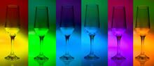 Taça De Vidro Com Cor  E Luz Degrade Futurista Para Bar Ou Coquetel. Glass Goblet With Futuristic Color And Light Gradient For Bar Or Cocktail Party