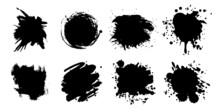 Set Of Black Ink Blot On White Background, Realistic Vector Illustration